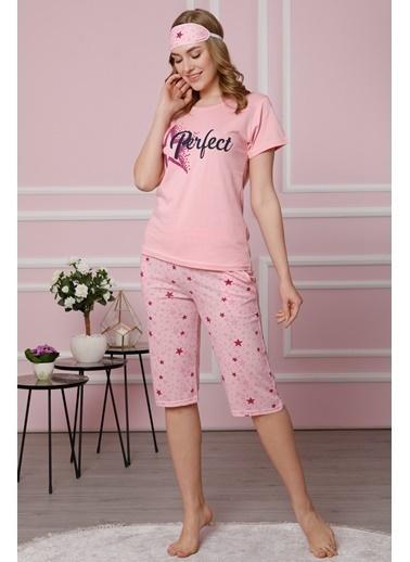 Akbeniz Kadın Pembe Pamuklu Cepli Kapri Pijama Takım 3510 Pembe